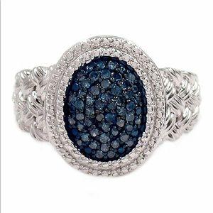 0.25 CTW Blue Diamond Braid Textured Ring